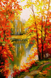 Golden autumn, Paintings, Impressionism, Botanical,Landscape,Nature, Canvas,Oil,Painting, By Olha   Darchuk