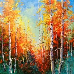 Golden autumn, Paintings, Impressionism, Botanical,Landscape,Nature,Wildlife, Canvas,Oil,Painting, By Olha   Darchuk