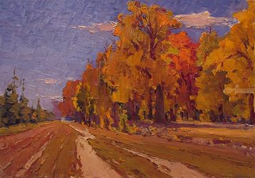 Golden autumn, Paintings, Impressionism, Landscape, Oil, By Sergey Belikov
