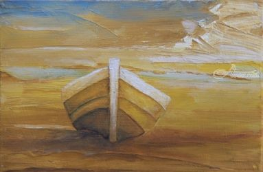 Golden Beach Boat, Murals, Impressionism, Tropical, Oil, By Alicia Maury