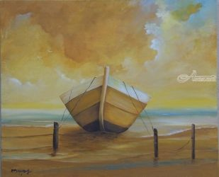 Golden Boat in the Golden<br>Beach, Paintings, Fine Art, Nature, Canvas, By Alicia Maury