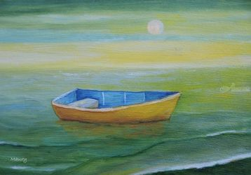 Golden Boat in the Green<br>Lagoon, Paintings, Impressionism, Seascape, Oil, By Alicia Maury