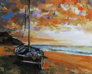 Golden sunset, Paintings, Fine Art,Impressionism,Realism, Figurative,Landscape,Seascape, Canvas,Oil, By Kateryna Bortsova