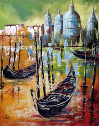 GONDOLAS IN VENICE, Paintings, Impressionism,Modernism,Pop Art, Landscape, Acrylic, By Craig Granato