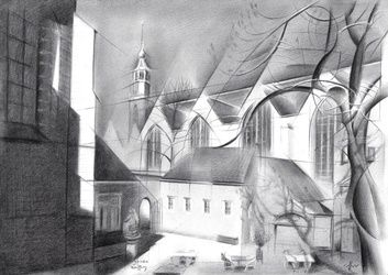Gouda - 30-06-17, Drawings / Sketch, Abstract,Cubism,Fine Art,Impressionism,Realism,Surrealism, Architecture,Cityscape,Composition,Figurative, Pencil, By Corne Akkers