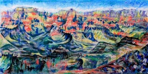 Grand canyon, Paintings, Expressionism, Landscape, Acrylic,Canvas, By Victor Ovsyannikov
