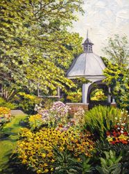 Grandmother's Garden Flowers, Paintings, Impressionism, Landscape, Oil, By Richard Nowak