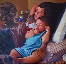 Grandsons, Paintings, Impressionism,Realism, Children,Daily Life, Acrylic, By Adrian Arvin