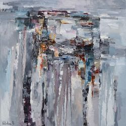 Gray Abstract Painting - Rainy<br>day - 90 x 90 cm - Original<br>oil painting, Paintings, Abstract, Fantasy, Canvas,Oil,Painting, By Anastasiya Valiulina