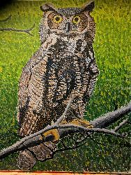 Great Owl, Paintings, Impressionism, Animals, Acrylic,Canvas, By Celia Nelson