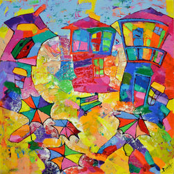 Greek summer, Paintings, Expressionism,Fine Art,Impressionism, Architecture, Canvas,Oil,Wood, By Vyara Tichkova