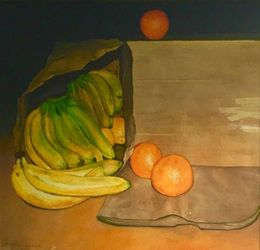 Green bananas, Paintings, Fine Art, Found Objects, Watercolor, By James Cassel