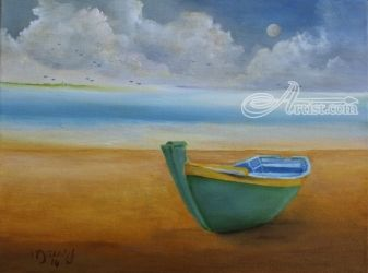 Green Boat, Paintings, Impressionism, Landscape, Canvas, By Alicia Maury
