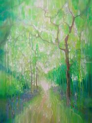 Green Forest Calling - A large<br>green painting of a path<br>through a green forest, Paintings, Abstract,Expressionism,Fine Art, Floral,Landscape,Nature,Spiritual, Oil, By Gill Bustamante