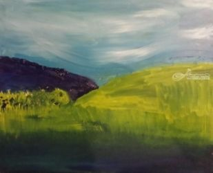 Green Hills, Paintings, Impressionism, Landscape, Oil, By MD Meiser