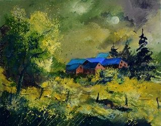 Green houses, Architecture,Decorative Arts,Drawings / Sketch,Paintings, Impressionism, Decorative, Canvas, By Pol Ledent