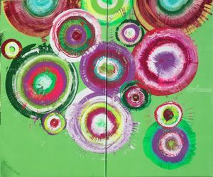 Green rose circles A103<br>Abstract Painting vertical<br>wall art Acrylic Original<br>Contemporary Art for Lounge,<br>Office or above sofa by artist<br>Ksavera, Decorative Arts,Multipanel Art,Paintings, Abstract,Commercial Design,Expressionism,Modernism, Composition,Inspirational,Spiritual, Acrylic,Canvas, By Ksavera Art