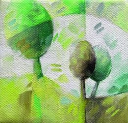 Green trees 003, Paintings, Abstract, Botanical,Figurative,Floral,Nature, Canvas,Oil, By Beatrice BEDEUR
