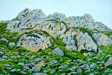 Grey Mountains, Paintings, Expressionism,Realism, Landscape, Canvas, By Ajay Harit