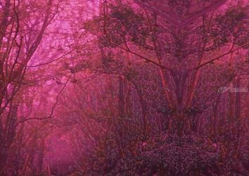 Guardian of Pink Forest, Digital Art / Computer Art, Symbolism, Figurative, Digital, By Bernard Curgenven