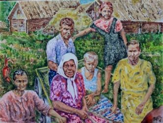 Guests aunt Nadia in the old<br>village, Paintings, Impressionism, Figurative, Acrylic,Canvas, By Victor Ovsyannikov