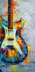 Guitar, Paintings, Expressionism,Fine Art,Impressionism, Inspirational,Music,Spiritual, Canvas,Oil,Painting, By Olha   Darchuk