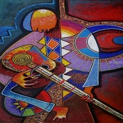 Guitarist, Paintings, Abstract, People, Mixed, By Akeem Agbelekale