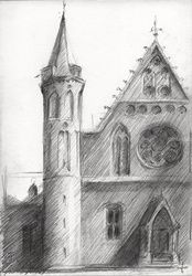 Hall of Knights (Ridderzaal) -<br>18-05-14, Drawings / Sketch, Abstract,Fine Art,Impressionism,Realism, Architecture,Cityscape,Composition,Figurative,Inspirational,Landscape, Pencil, By Corne Akkers