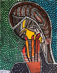 Hamsa jewish artist from<br>Israel modern drawings, Drawings / Sketch, Expressionism, Decorative, Mixed, By Mirit Ben-Nun