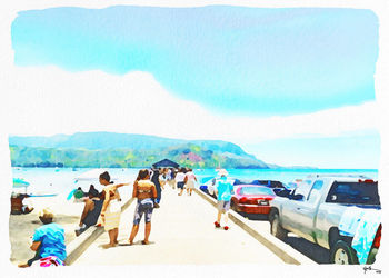 Hanalei Pier-Sunny Day, Paintings, Fine Art, Window on the World, Watercolor, By Angelo