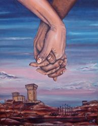 HAND IN HAND, Paintings, Fine Art,Surrealism, Anatomy,Fantasy,Figurative,Landscape, Acrylic,Canvas, By Corinne Tomas