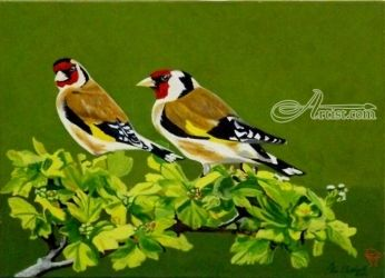 Happy Goldfinch Couple, Paintings, Realism, Animals,Botanical,Nature,Wildlife, Acrylic, By OLIVER MACHADO