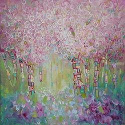 HAPPY SPRING, Paintings, Fine Art,Impressionism,Modernism, Land Art,Landscape,Nature, Canvas,Oil, By Emilia Milcheva