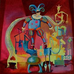 Harlequin, Paintings, Expressionism,Impressionism, People, Oil, By Vyara Tichkova
