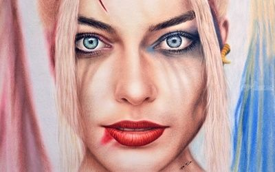 Harley Quinn from Suicide<br>Squad / Margot Robbie, Paintings, Impressionism,Photorealism,Realism, People,Portrait, Canvas,Oil, By Stefan Pabst