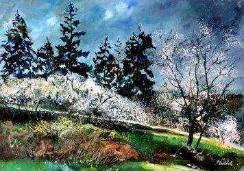 Hawthorn in blossom 75, Architecture,Decorative Arts,Drawings / Sketch,Paintings, Impressionism, Landscape, Canvas, By Pol Ledent