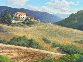 Heat of Fiesole, Paintings, Impressionism, Landscape, Canvas,Oil, By Mason Kang