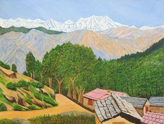 Himalayan Trails, Paintings, Realism, Landscape, Canvas, By Ajay Harit