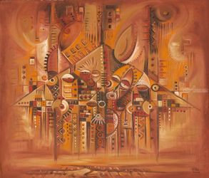 Home Sweet Home - Original<br>Painting from Cameroon,<br>Central Africa, Paintings, Surrealism, Conceptual,Fantasy,The Primative, Oil, By Angu Walters Che