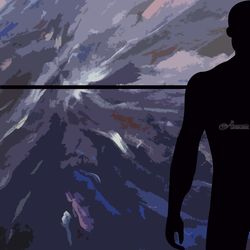Horizon with black silhouette<br>man, Digital Art / Computer Art, Existentialism, Conceptual, Digital, By Rosa C