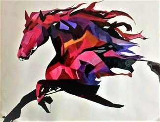 Horse Abstract Painting, Paintings, Abstract,Fine Art, Animals,Environmental art,Wildlife, Acrylic,Canvas, By Amal Augustine