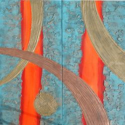 Hot orange stripe copper<br>patina A109 Abstract Painting<br>vertical wall art Acrylic<br>Original Contemporary Art for<br>Lounge, Office or above sofa<br>by artist Ksavera, Decorative Arts,Multipanel Art,Paintings, Abstract,Commercial Design,Expressionism,Modernism, Avant-Garde,Composition,Decorative,Spiritual, Acrylic,Canvas,Mixed,Spray Paint, By Ksavera Art