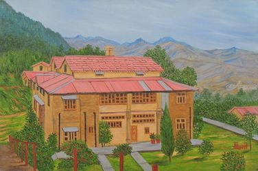 Hotel in Almora, Paintings, Realism, Landscape, Canvas, By Ajay Harit
