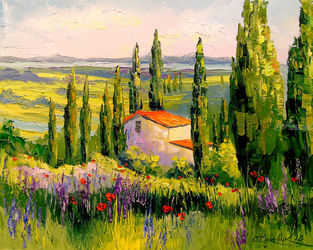 House in Provence, Pastel, Fine Art,Impressionism, Architecture,Botanical,Land Art,Landscape,Nature, Canvas,Oil,Painting, By Olha   Darchuk