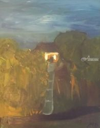 House and Waterfall, Paintings, Impressionism, Landscape, Oil, By MD Meiser