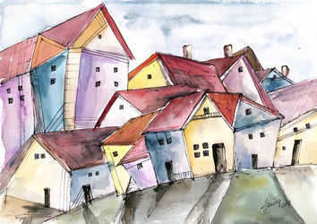 Houses on the lane, Paintings, Abstract,Cubism,Expressionism,Modernism, Architecture,Cityscape, Ink,Watercolor, By Aniko Hencz