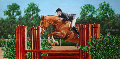 Hunter Jumper, Paintings, Fine Art,Realism, Animals,Figurative,People, Canvas, By Rick Seguso