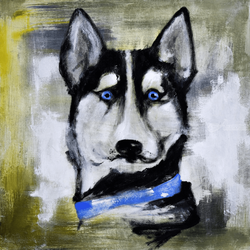 My friend Husky, Decorative Arts,Paintings, Fine Art, Animals, Acrylic,Painting, By ArtRuDi ArtRuDi