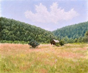 Hut, Paintings, Fine Art,Impressionism,Realism, Landscape,Nature, Canvas,Oil, By Dejan Trajkovic