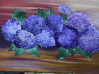 Hydrangea in bloom, Paintings, Fine Art, Decorative, Canvas, By Lubov Pavluk